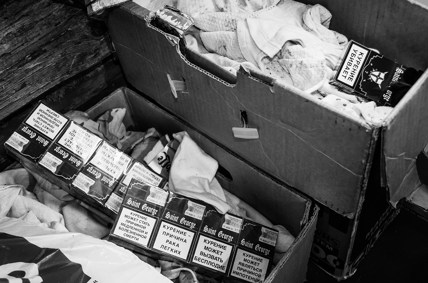 The smuggled cigarettes are hidden in a lot of different spots a